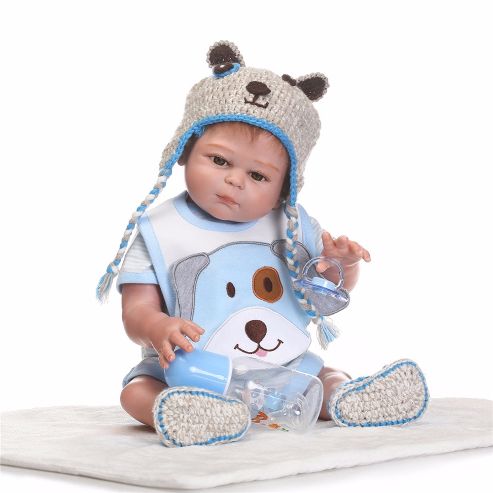 20 inch 50 cm Silicone baby reborn dolls, lifelike doll Blue dress Lovely doll