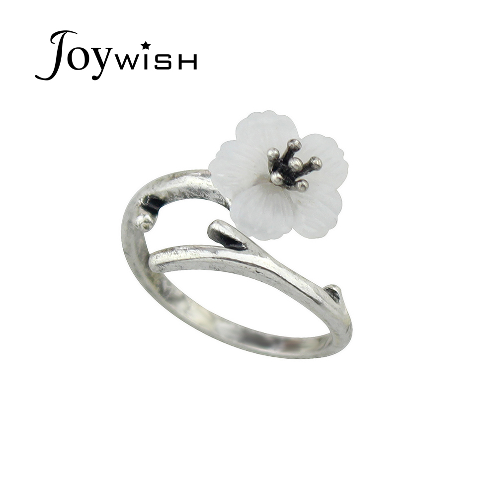 Joywish 2017 NewAntique Silver Color With Resin Flower Geometric Finger Rings For Women Fashion Jewelry