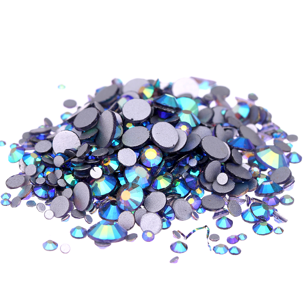 Glass Gems Crystal Rhinestones For Nails ss3-ss30 And Mixed Tanzanite AB Strass Nail Art Jewelry Design Glitter Decoration