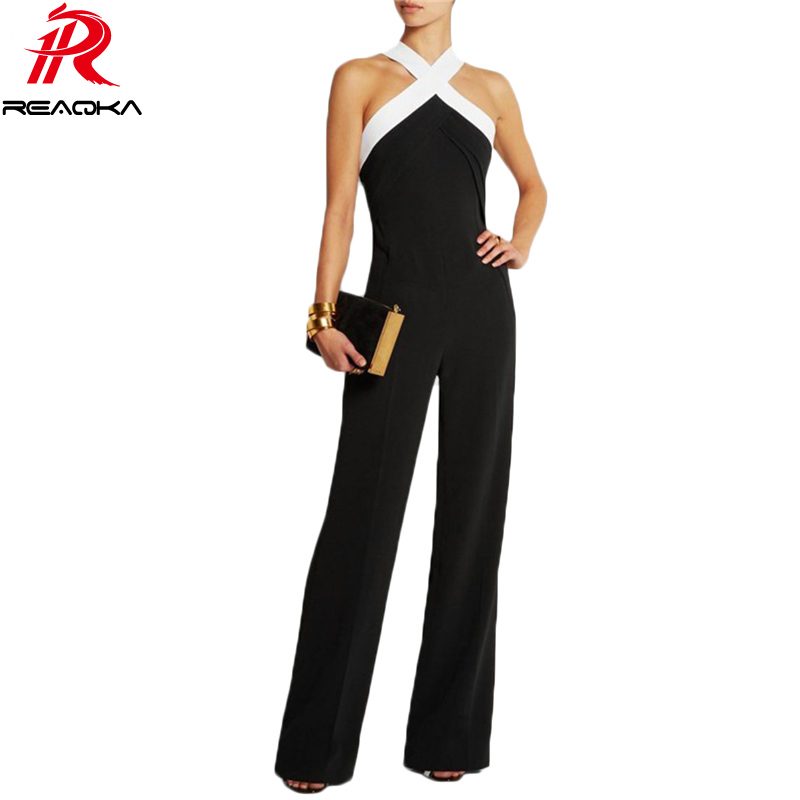 Self portrait New Jumpsuit women overall Black white stitching women's Halter sexy Hollow jumpsuit waist pants coveralls Rompers шорты комбинезон женский летний комбенизон комбинезон женский комбинезон купальники